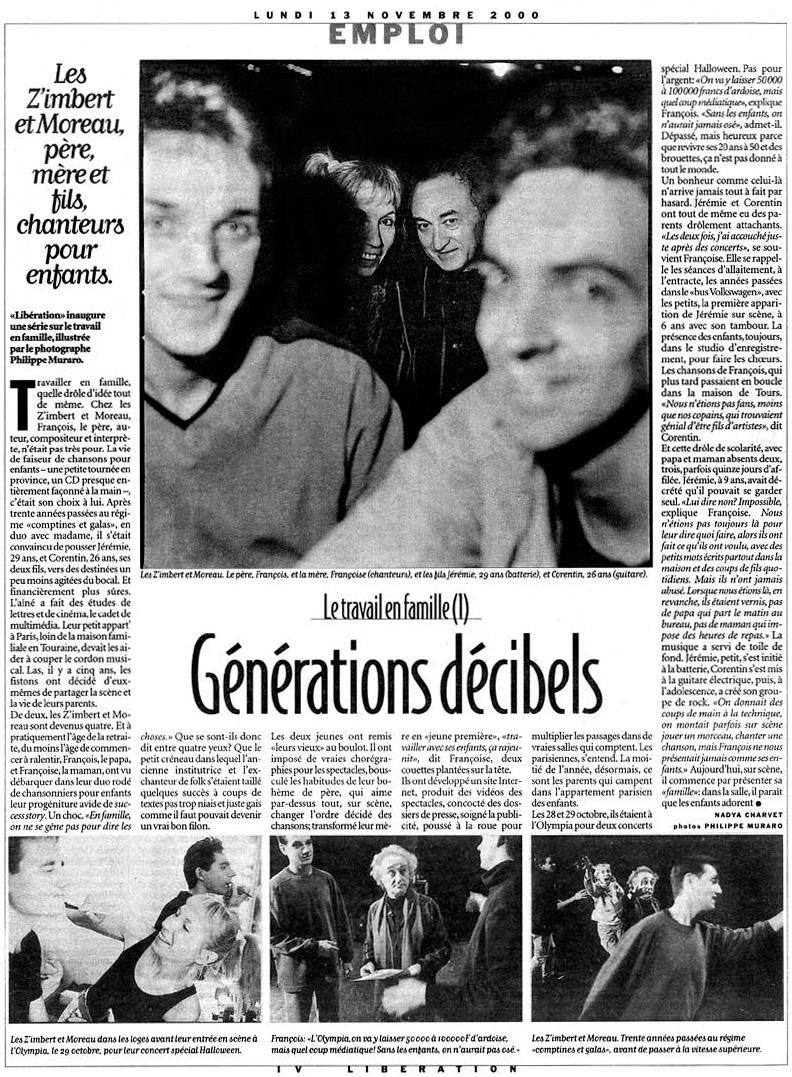 Les ZiM's dans Libération du 13 novembre 2000