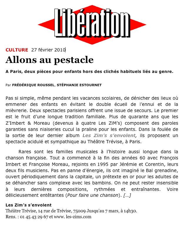 Retrouvez Les ZiM's dans Libération du 27 février 2010